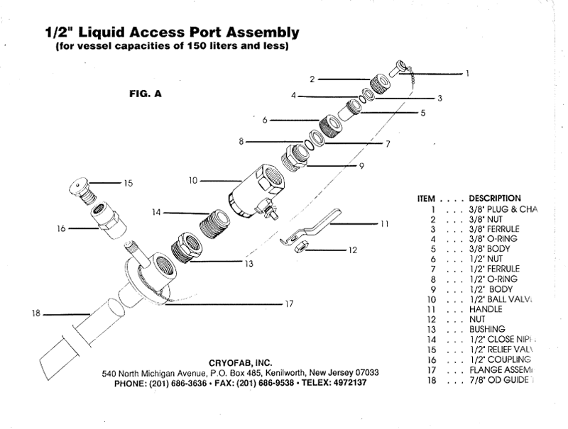 "1/2"" access port for liquid helium container - expanded drawing"