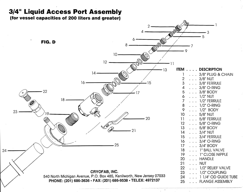 "3/4"" access port for liquid helium container - expanded drawing"