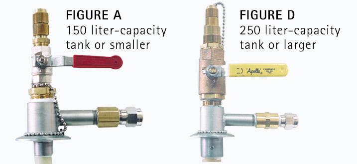 liquid helium dewar access ports in two sizes